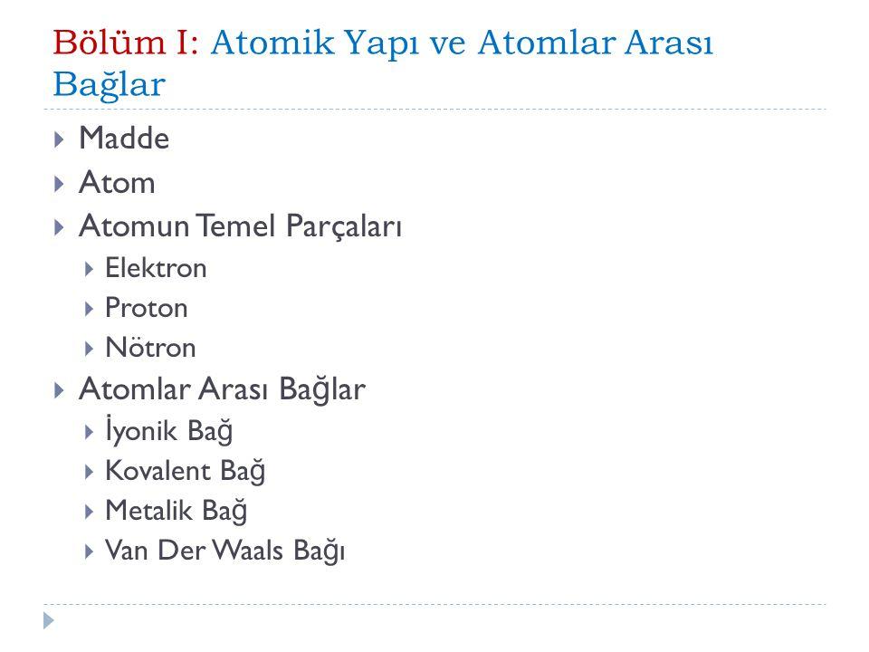 Bölüm I: Atomik Yapı ve Atomlar Arası Bağlar