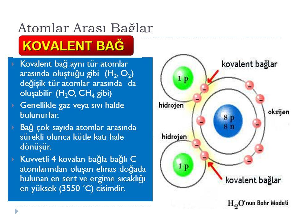 Atomlar Arası Bağlar Kovalent bağ aynı tür atomlar arasında oluştuğu gibi (H2, O2) değişik tür atomlar arasında da oluşabilir (H2O, CH4 gibi)