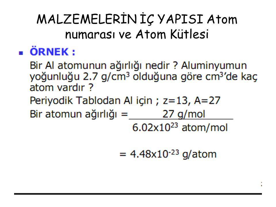 MALZEMELERİN İÇ YAPISI Atom numarası ve Atom Kütlesi