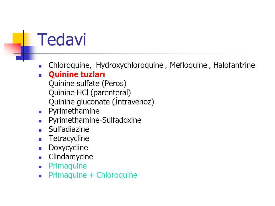 Tedavi Chloroquine, Hydroxychloroquine , Mefloquine , Halofantrine