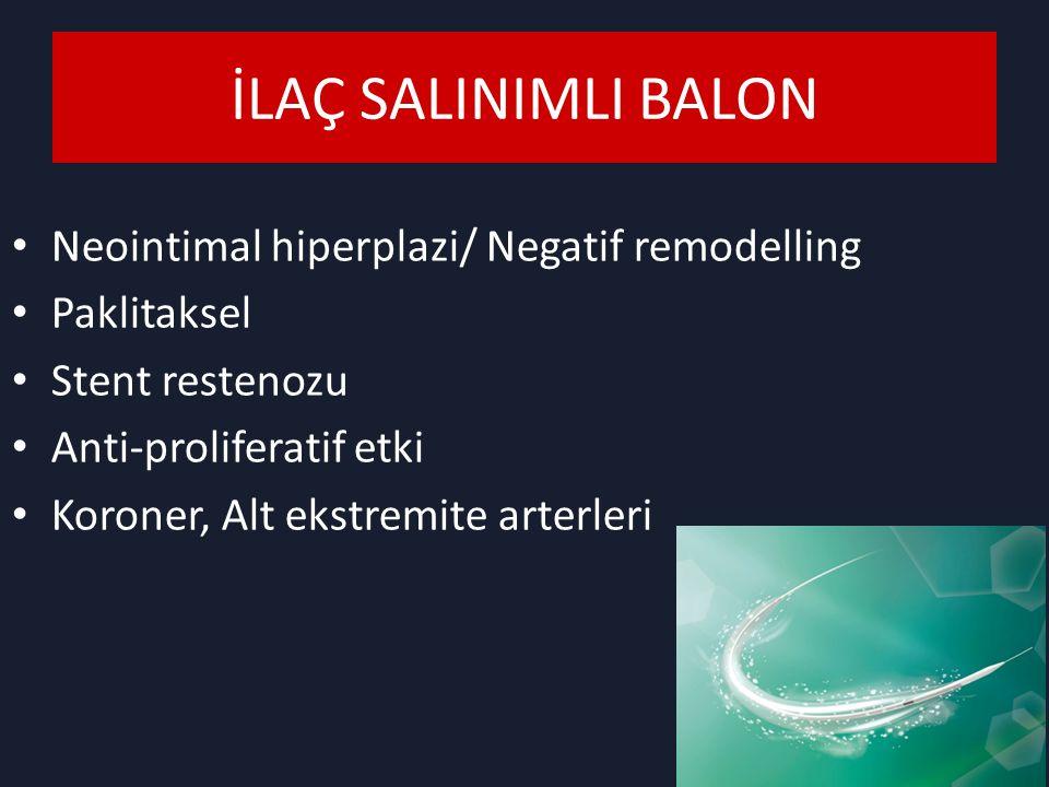 İLAÇ SALINIMLI BALON Neointimal hiperplazi/ Negatif remodelling