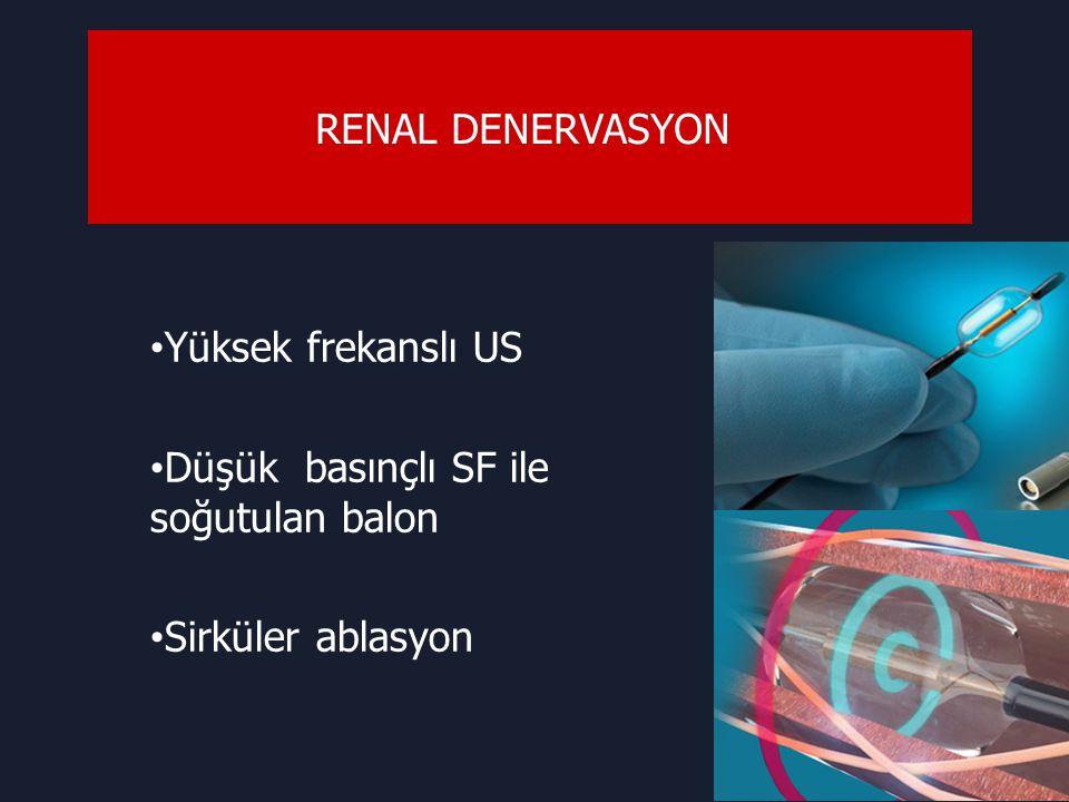 RENAL DENERVASYON Yüksek frekanslı US Düşük basınçlı SF ile soğutulan balon Sirküler ablasyon
