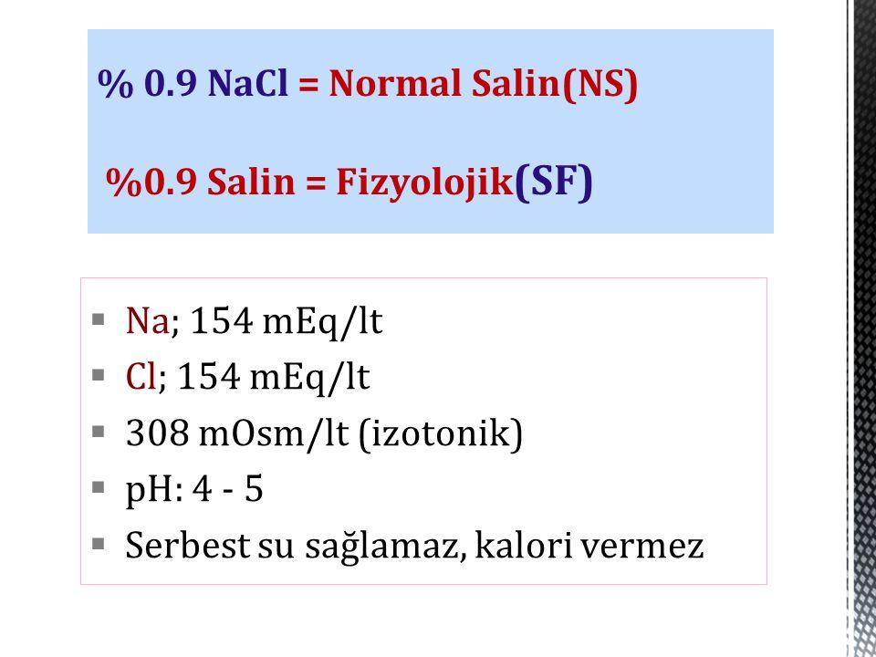% 0.9 NaCl = Normal Salin(NS) %0.9 Salin = Fizyolojik(SF)