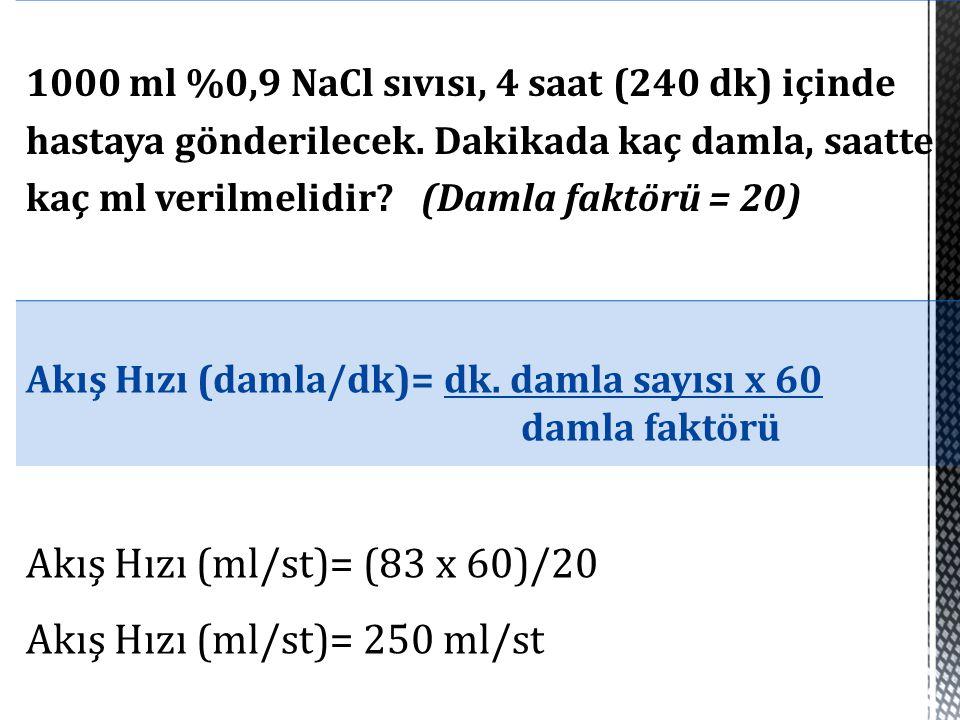 Akış Hızı (ml/st)= (83 x 60)/20 Akış Hızı (ml/st)= 250 ml/st