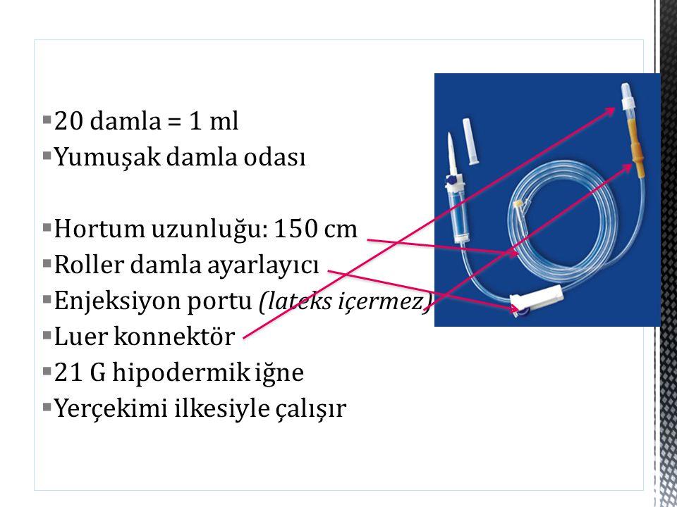 20 damla = 1 ml Yumuşak damla odası Hortum uzunluğu: 150 cm Roller damla ayarlayıcı Enjeksiyon portu (lateks içermez)