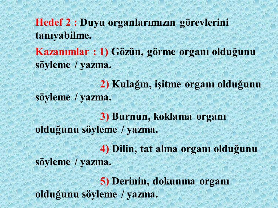 Hedef 2 : Duyu organlarımızın görevlerini tanıyabilme.