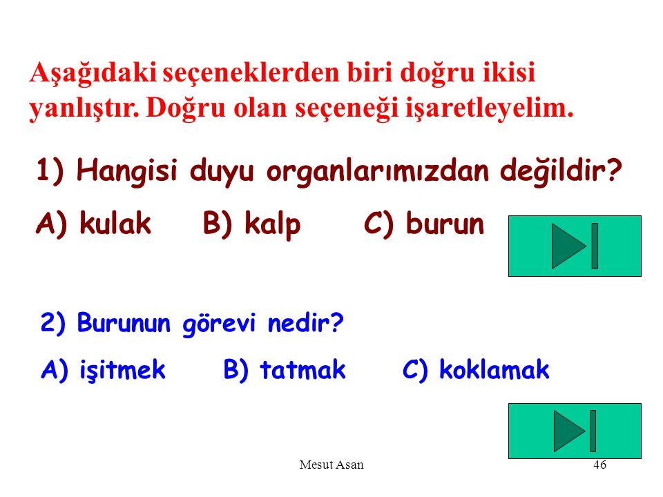 1) Hangisi duyu organlarımızdan değildir A) kulak B) kalp C) burun