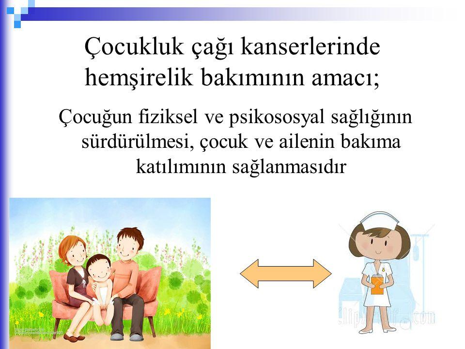 Çocukluk çağı kanserlerinde hemşirelik bakımının amacı;
