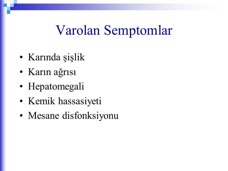 Varolan Semptomlar Karında şişlik Karın ağrısı Hepatomegali