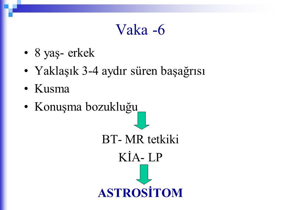 Vaka -6 8 yaş- erkek Yaklaşık 3-4 aydır süren başağrısı Kusma