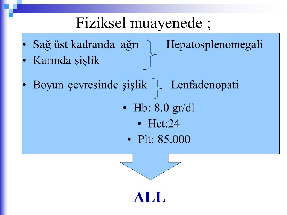 Fiziksel muayenede ; ALL Sağ üst kadranda ağrı Hepatosplenomegali