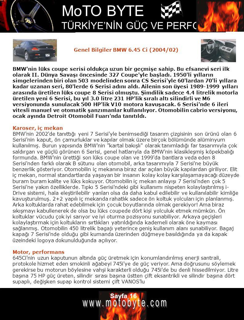 Genel Bilgiler BMW 6.45 Ci (2004/02)