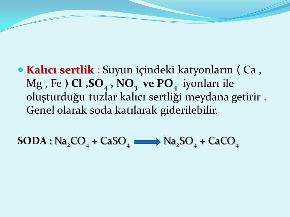 Kalıcı sertlik : Suyun içindeki katyonların ( Ca , Mg , Fe ) Cl ,SO4 , NO3 ve PO4 iyonları ile oluşturduğu tuzlar kalıcı sertliği meydana getirir . Genel olarak soda katılarak giderilebilir.