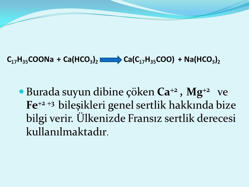 C17H35COONa + Ca(HCO3)2 Ca(C17H35COO) + Na(HCO3)2
