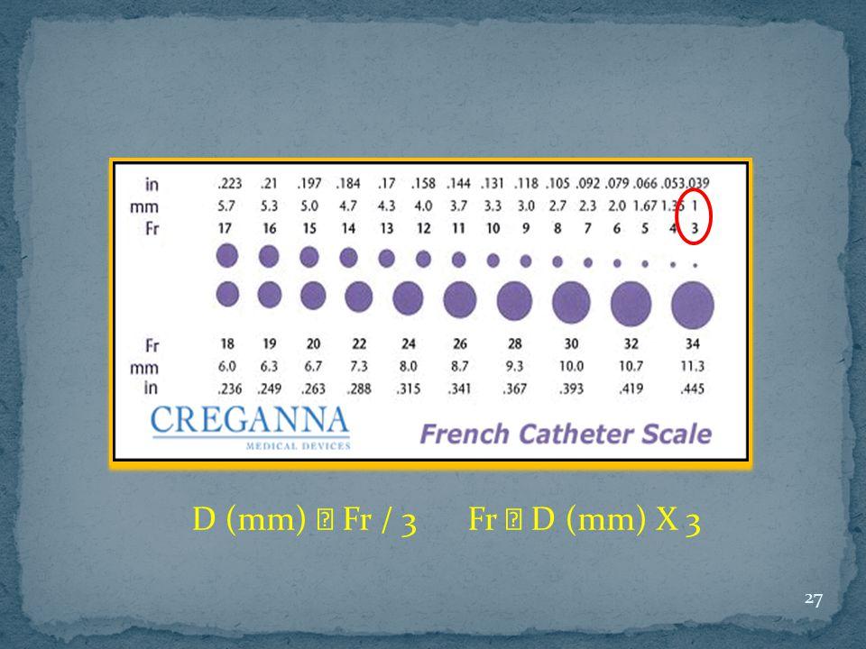 D (mm) ꞊ Fr / 3 Fr ꞊ D (mm) X 3