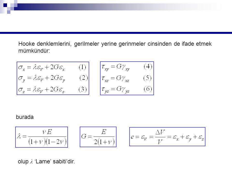 Hooke denklemlerini, gerilmeler yerine gerinmeler cinsinden de ifade etmek mümkündür: