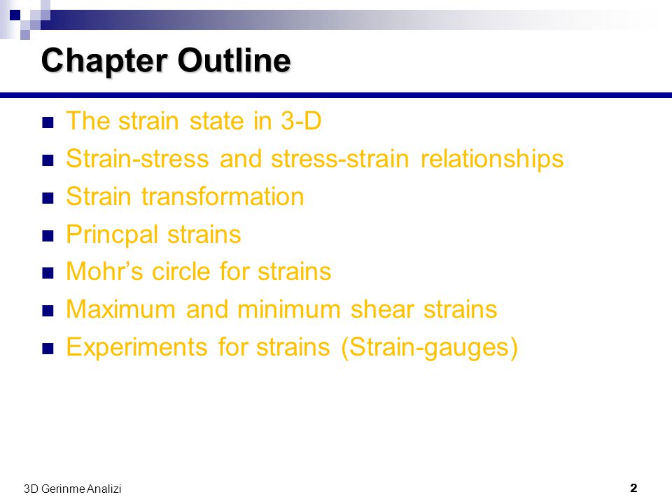 Chapter Outline The strain state in 3-D