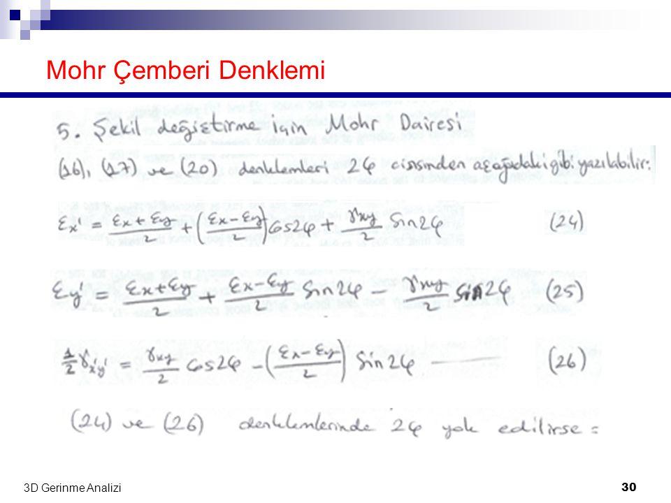 Mohr Çemberi Denklemi 3D Gerinme Analizi