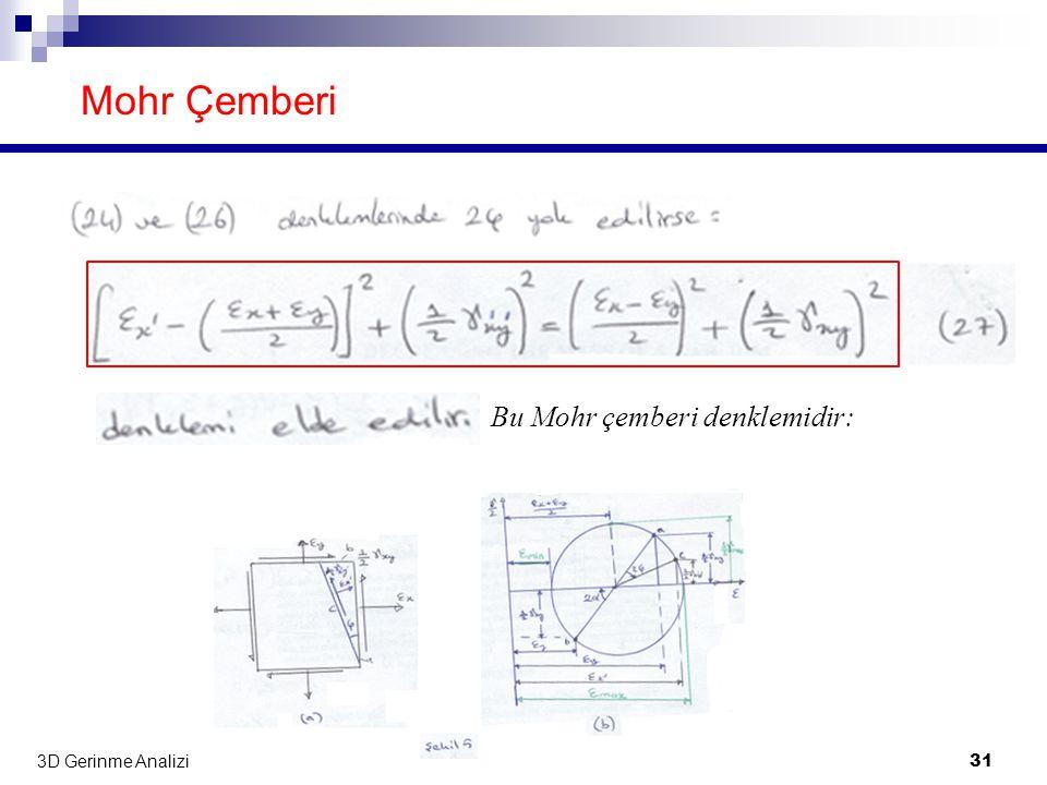 Mohr Çemberi Bu Mohr çemberi denklemidir: 3D Gerinme Analizi