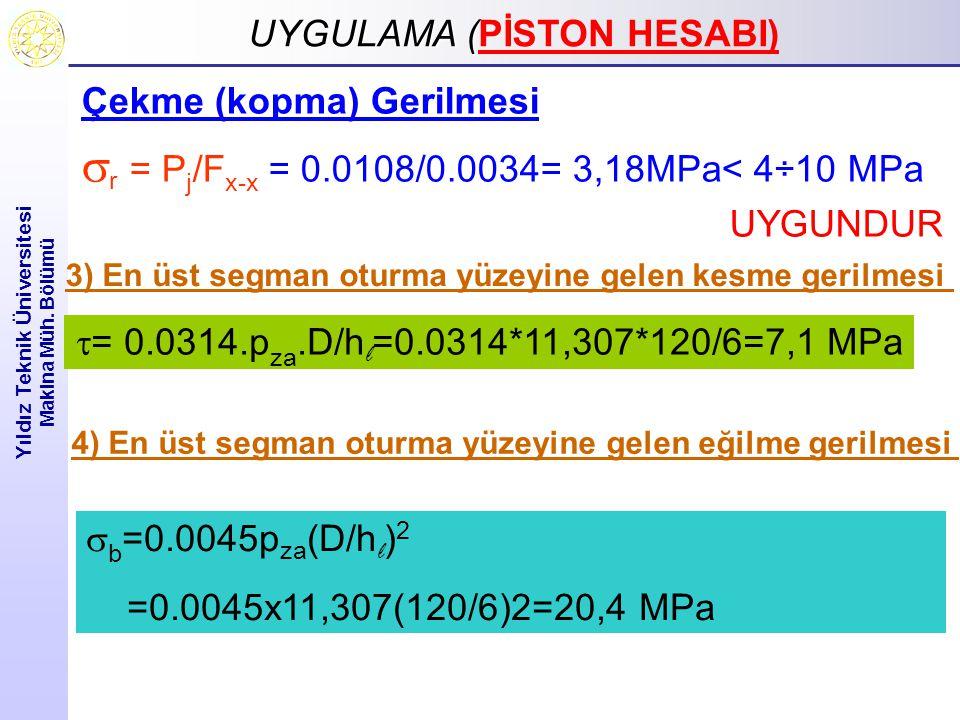 sr = Pj/Fx-x = 0.0108/0.0034= 3,18MPa< 4÷10 MPa