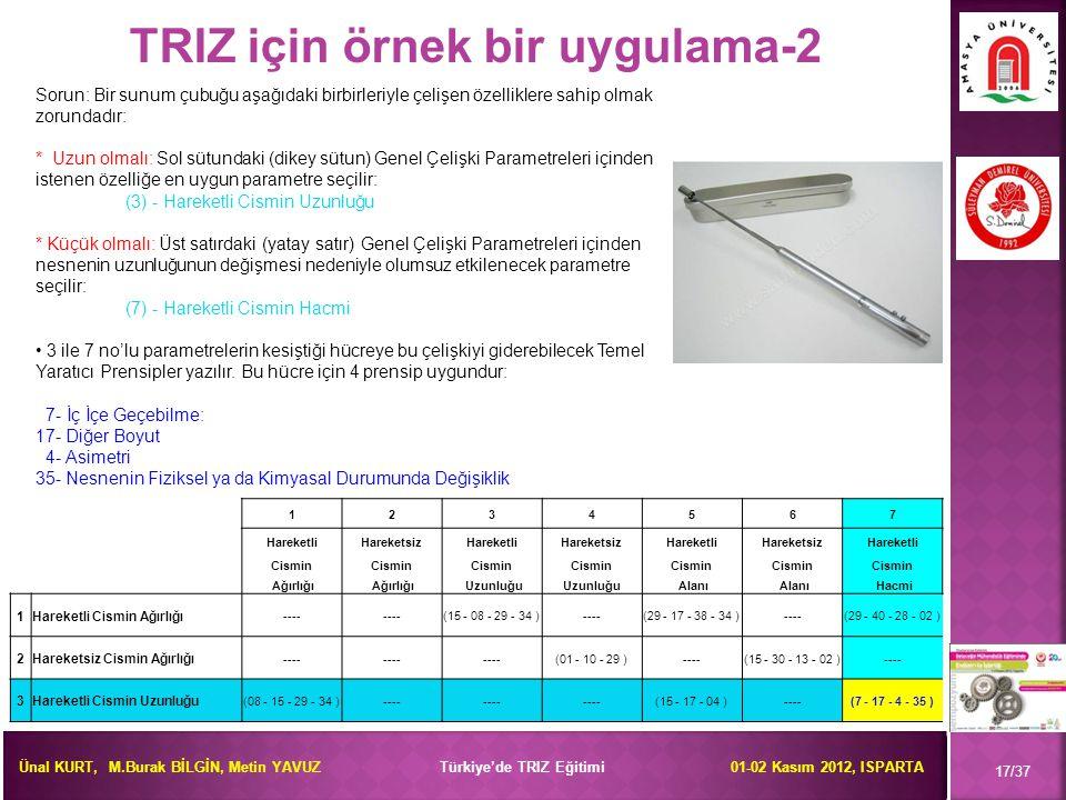 TRIZ için örnek bir uygulama-2