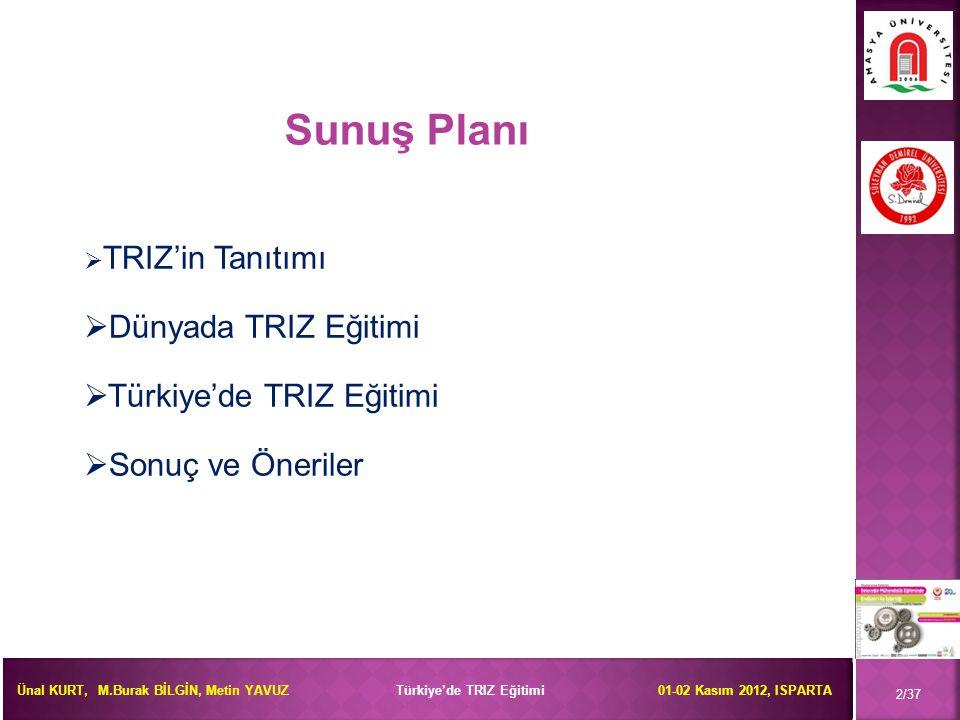 Sunuş Planı Dünyada TRIZ Eğitimi Türkiye'de TRIZ Eğitimi