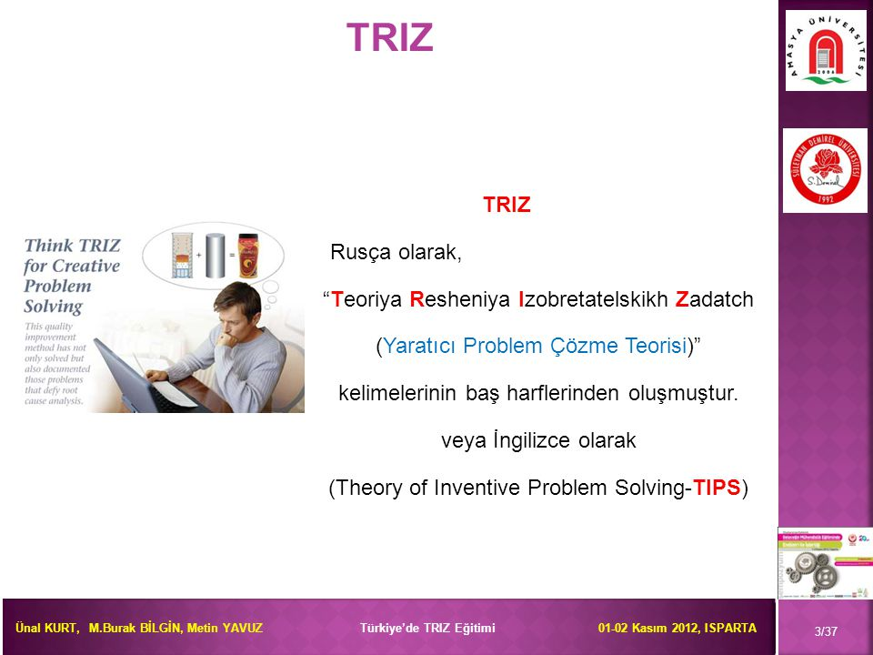 TRIZ TRIZ Rusça olarak, Teoriya Resheniya Izobretatelskikh Zadatch