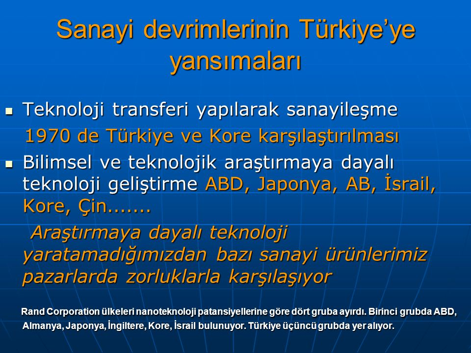 Sanayi devrimlerinin Türkiye'ye yansımaları