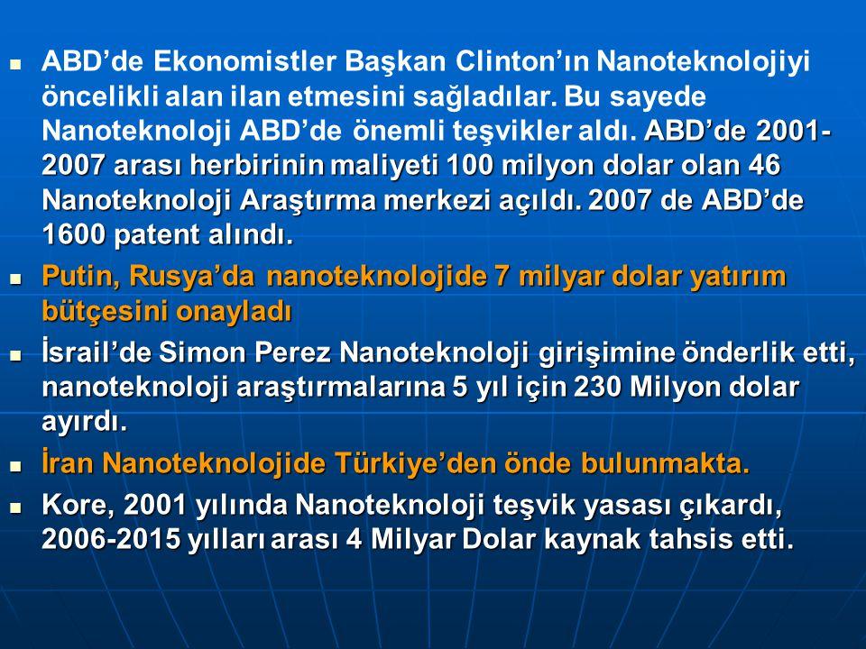 ABD'de Ekonomistler Başkan Clinton'ın Nanoteknolojiyi öncelikli alan ilan etmesini sağladılar. Bu sayede Nanoteknoloji ABD'de önemli teşvikler aldı. ABD'de 2001-2007 arası herbirinin maliyeti 100 milyon dolar olan 46 Nanoteknoloji Araştırma merkezi açıldı. 2007 de ABD'de 1600 patent alındı.