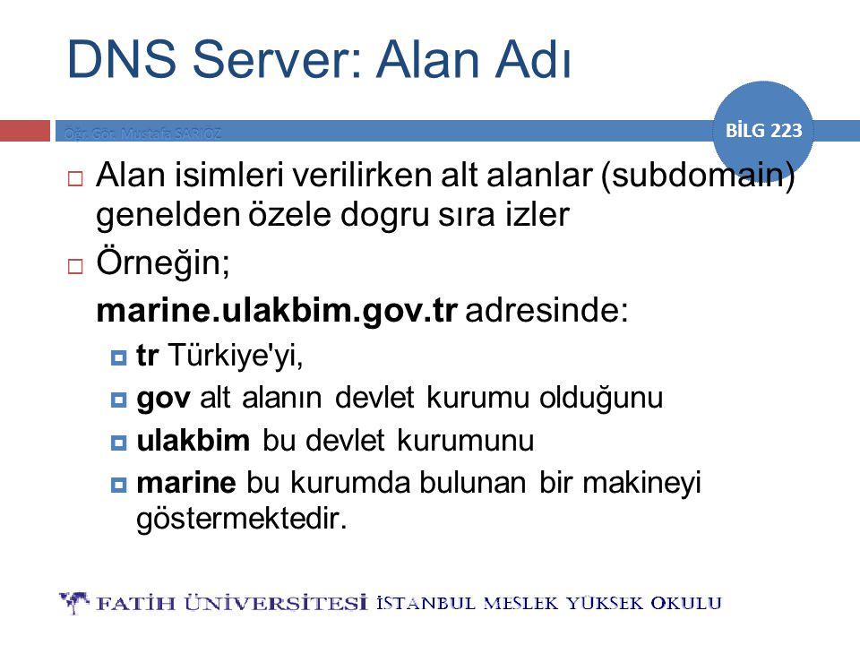 DNS Server: Alan Adı Alan isimleri verilirken alt alanlar (subdomain) genelden özele dogru sıra izler.