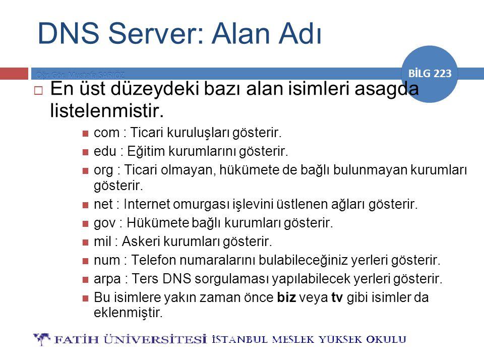 DNS Server: Alan Adı En üst düzeydeki bazı alan isimleri asagda listelenmistir. com : Ticari kuruluşları gösterir.