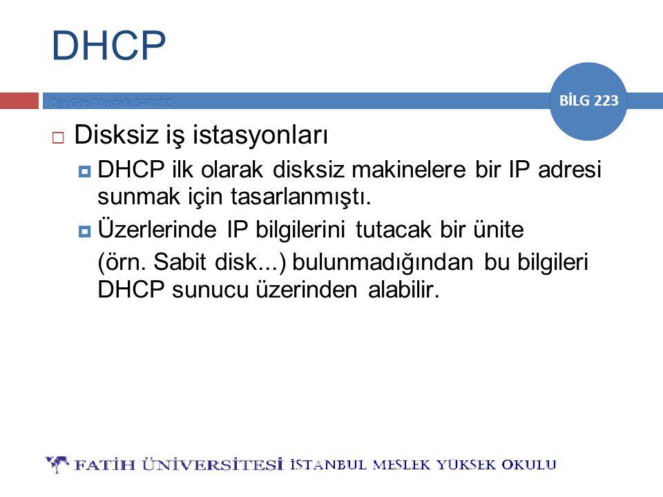 DHCP Disksiz iş istasyonları