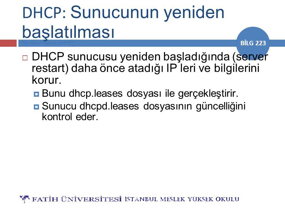 DHCP: Sunucunun yeniden başlatılması