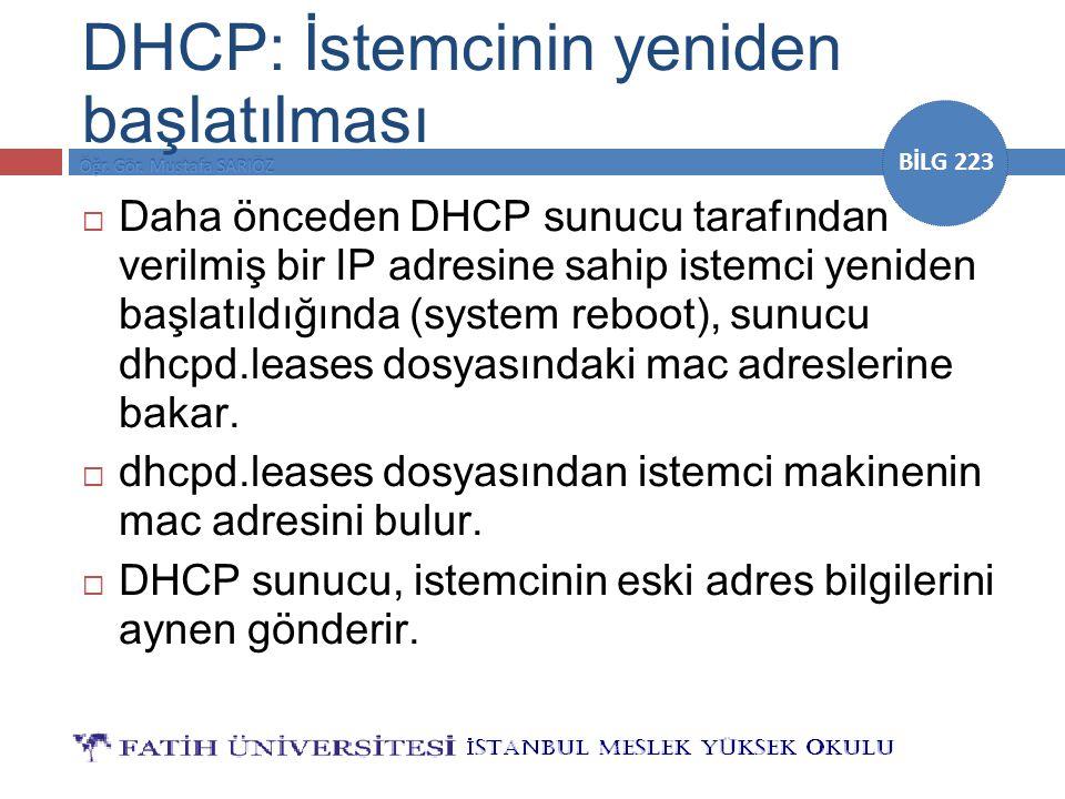 DHCP: İstemcinin yeniden başlatılması