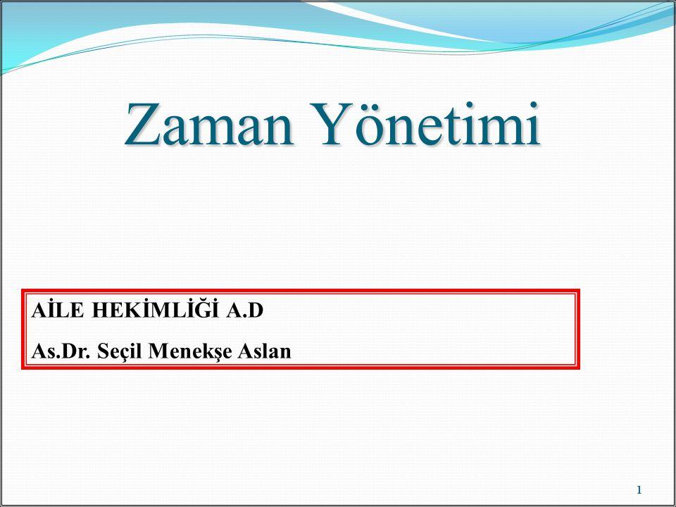 Zaman Yönetimi AİLE HEKİMLİĞİ A.D As.Dr. Seçil Menekşe Aslan