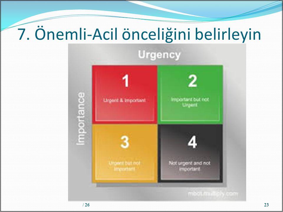 7. Önemli-Acil önceliğini belirleyin