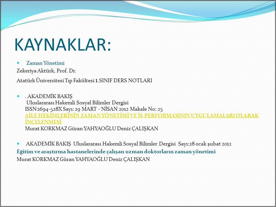 KAYNAKLAR: Zaman Yönetimi Zekeriya Aktürk, Prof. Dr.