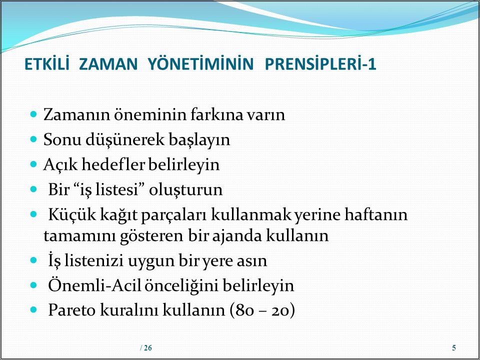 ETKİLİ ZAMAN YÖNETİMİNİN PRENSİPLERİ-1