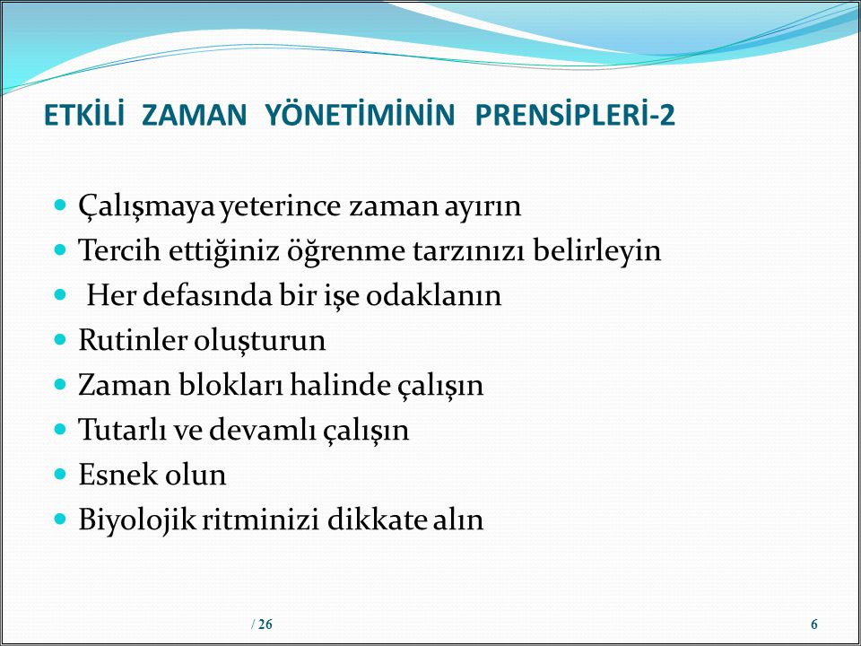 ETKİLİ ZAMAN YÖNETİMİNİN PRENSİPLERİ-2