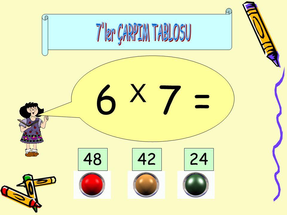 7 ler ÇARPIM TABLOSU 6 X 7 = 48 42 24