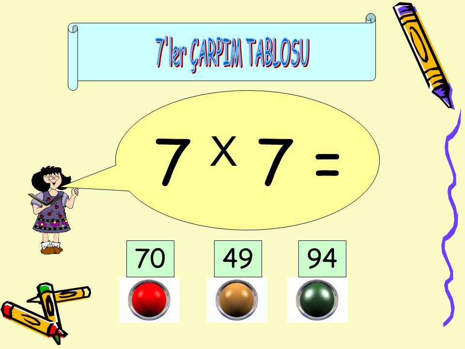 7 ler ÇARPIM TABLOSU 7 X 7 = 70 49 94