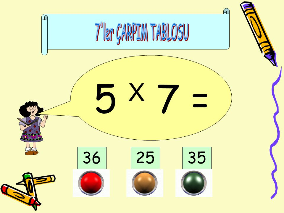 7 ler ÇARPIM TABLOSU 5 X 7 = 36 25 35