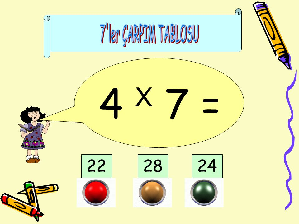 7 ler ÇARPIM TABLOSU 4 X 7 = 22 28 24