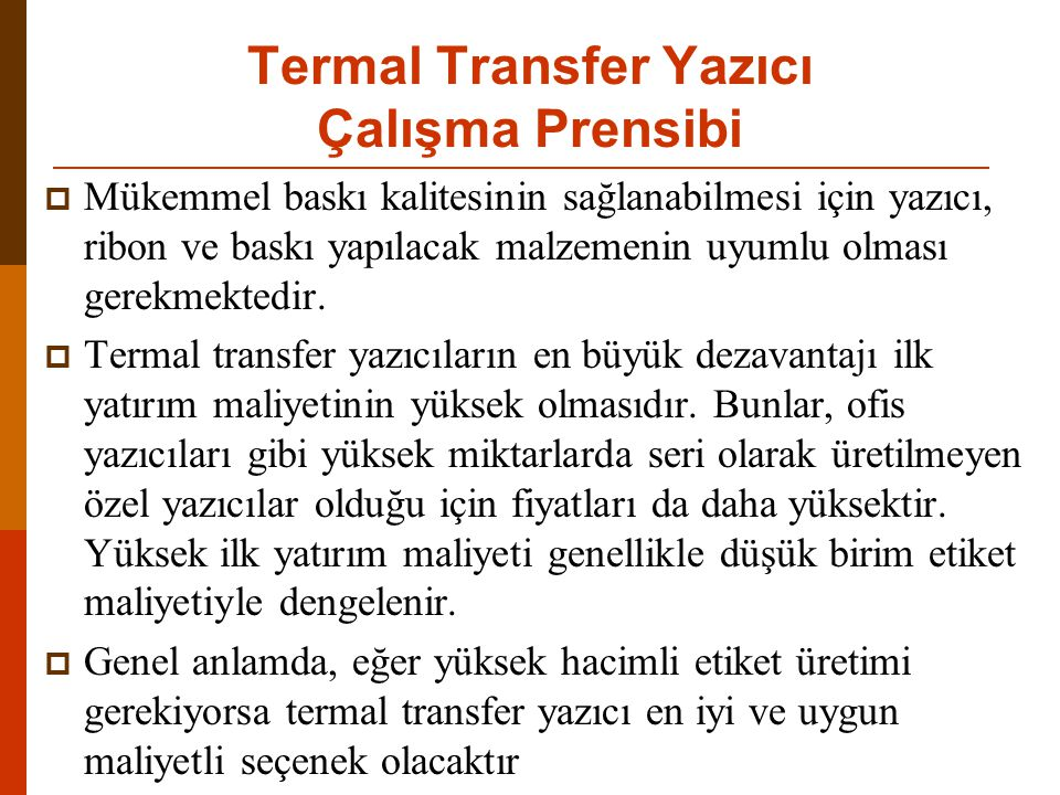 Termal Transfer Yazıcı Çalışma Prensibi