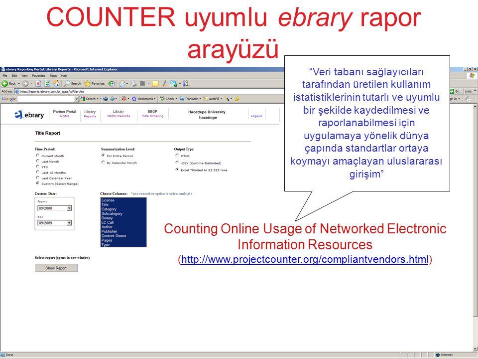 COUNTER uyumlu ebrary rapor arayüzü