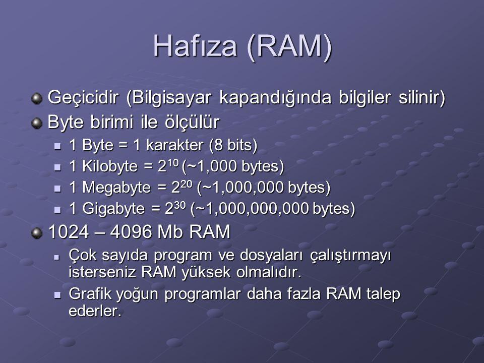 Hafıza (RAM) Geçicidir (Bilgisayar kapandığında bilgiler silinir)