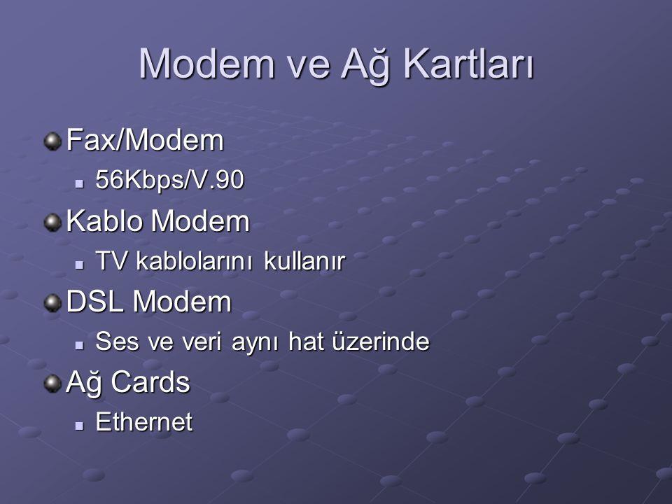Modem ve Ağ Kartları Fax/Modem Kablo Modem DSL Modem Ağ Cards