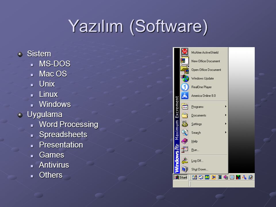 Yazılım (Software) Sistem MS-DOS Mac OS Unix Linux Windows Uygulama