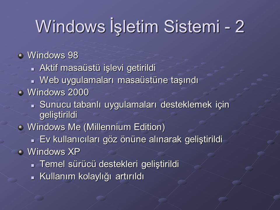 Windows İşletim Sistemi - 2