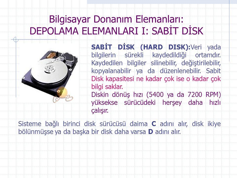 Bilgisayar Donanım Elemanları: DEPOLAMA ELEMANLARI I: SABİT DİSK